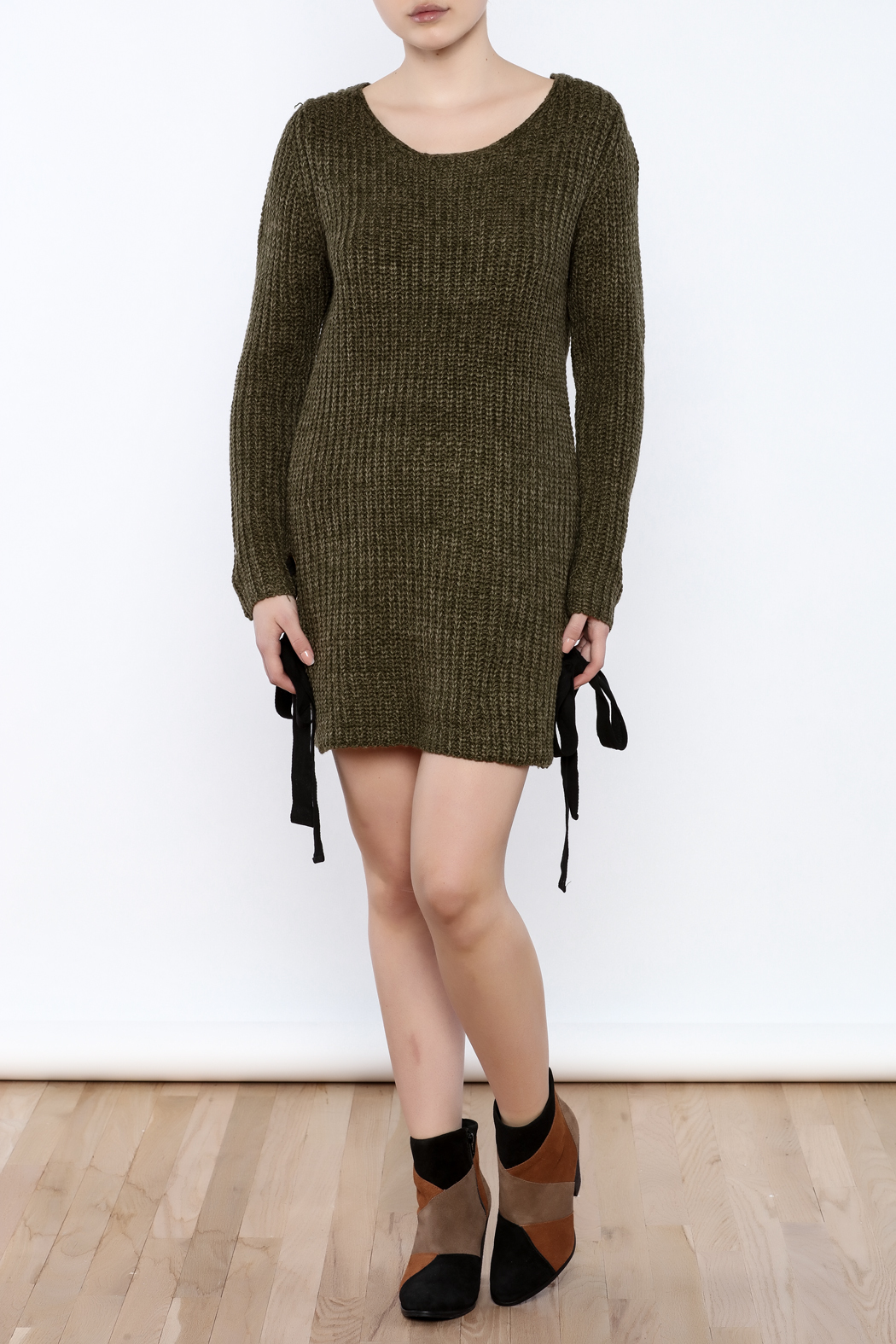 Love Tree Olive Sweater Dress - Front Full Image