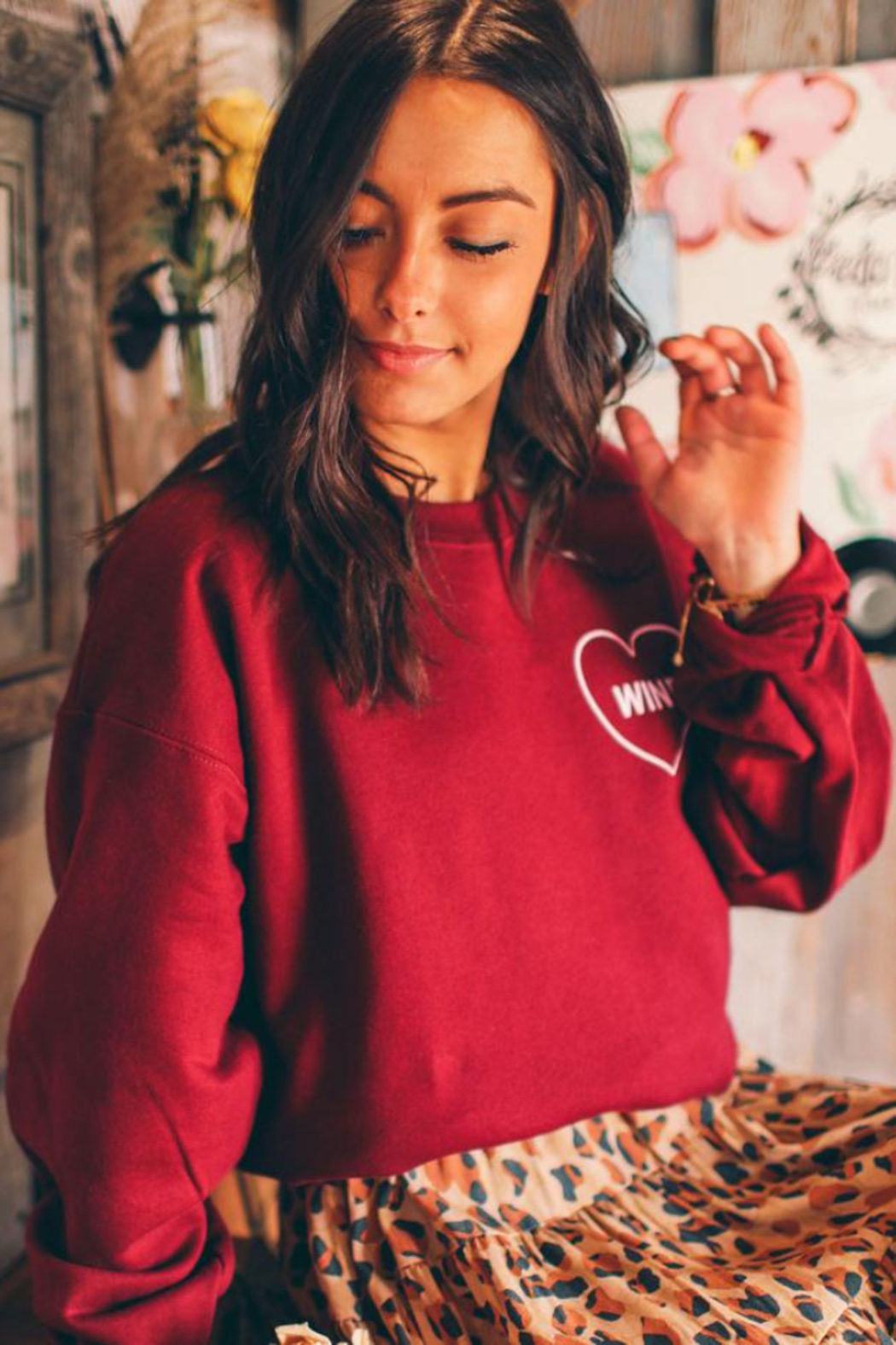 Friday + Saturday Love Wine Sweatshirt - Front Cropped Image