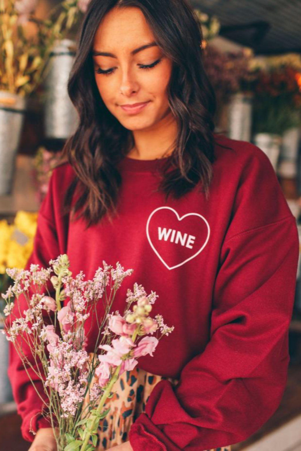 Friday + Saturday Love Wine Sweatshirt - Side Cropped Image