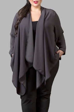 Love By Yona Draped Overpiece- Grey - Product List Image