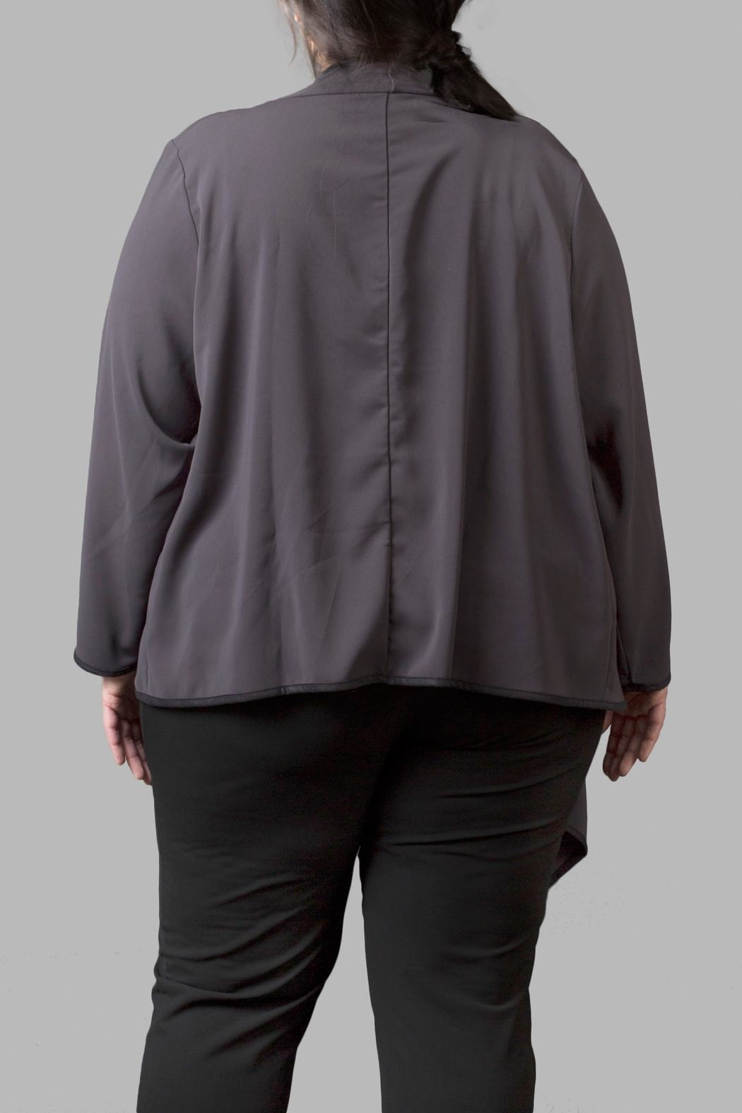 Love By Yona Draped Overpiece- Grey - Front Full Image