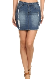 LOVE CULTURE Distressed Denim Skirt - Front cropped