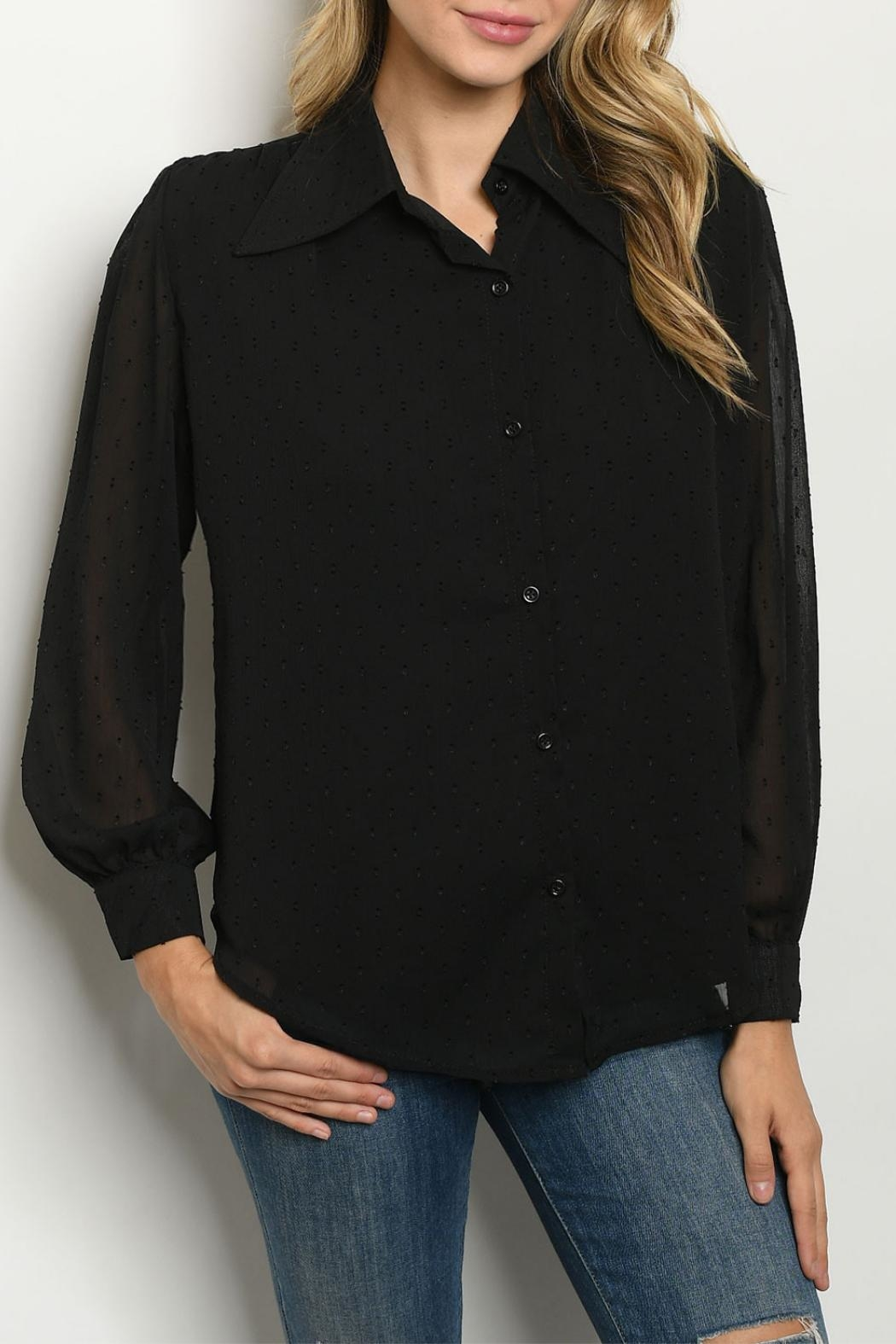 Love Encounter Black Sheer-Overlay Blouse - Front Cropped Image