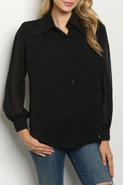 Love Encounter Black Sheer-Overlay Blouse - Front cropped