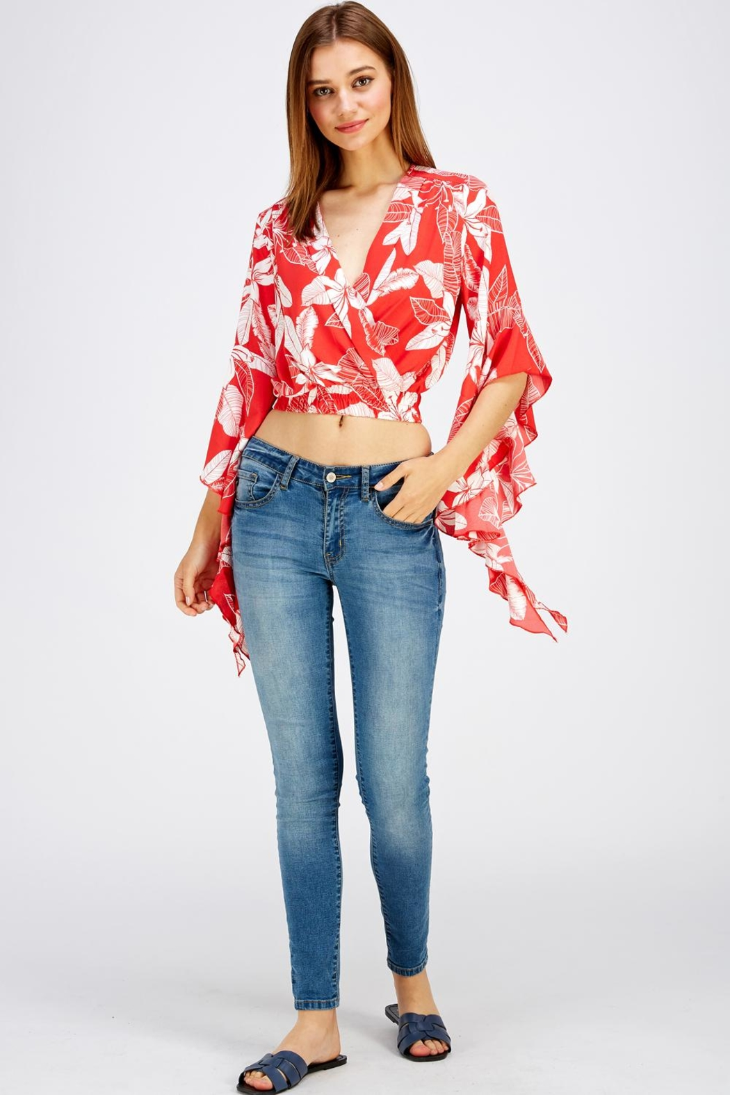Love Encounter Red Floral Top - Side Cropped Image