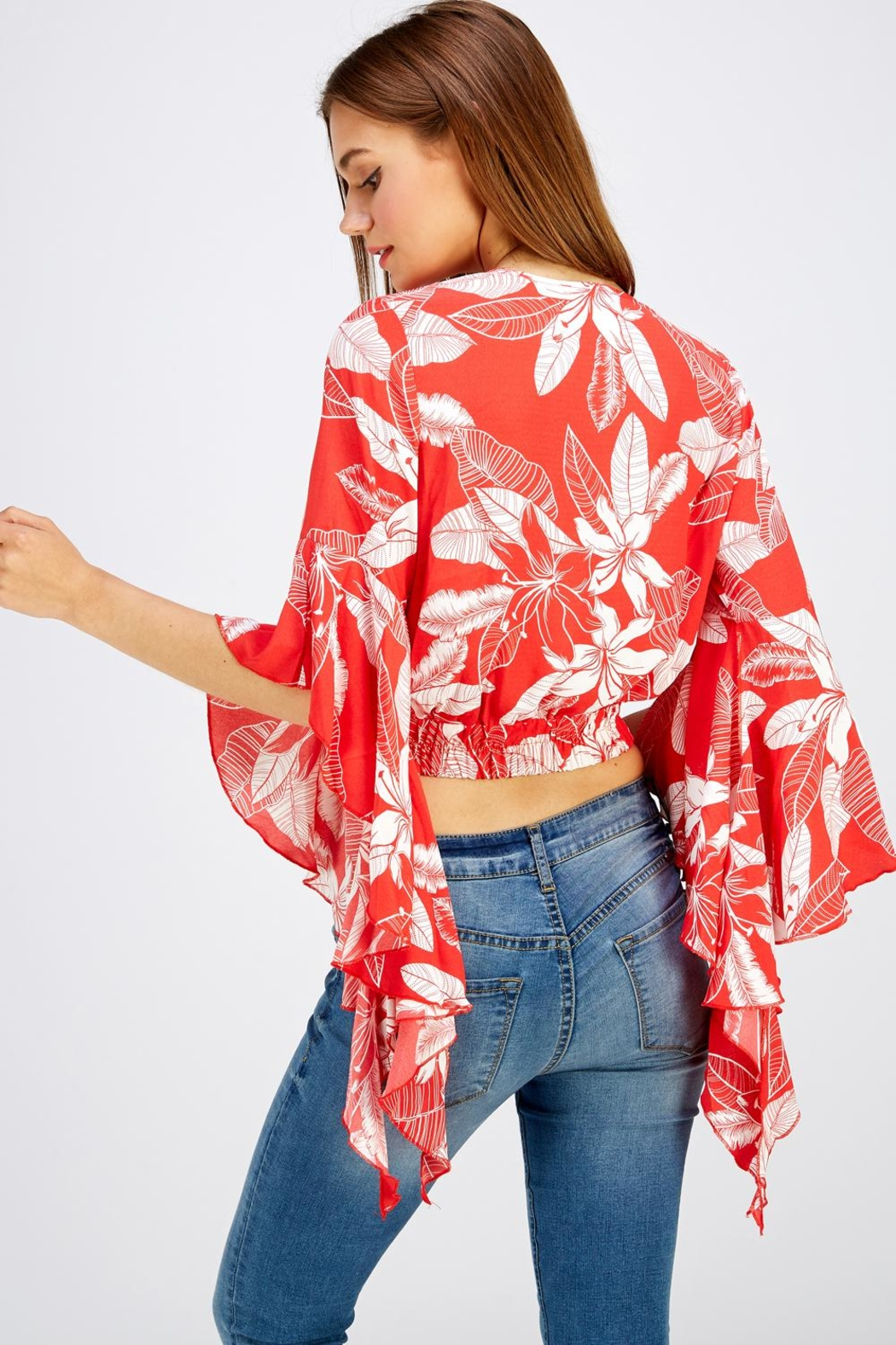 Love Encounter Red Floral Top - Front Full Image