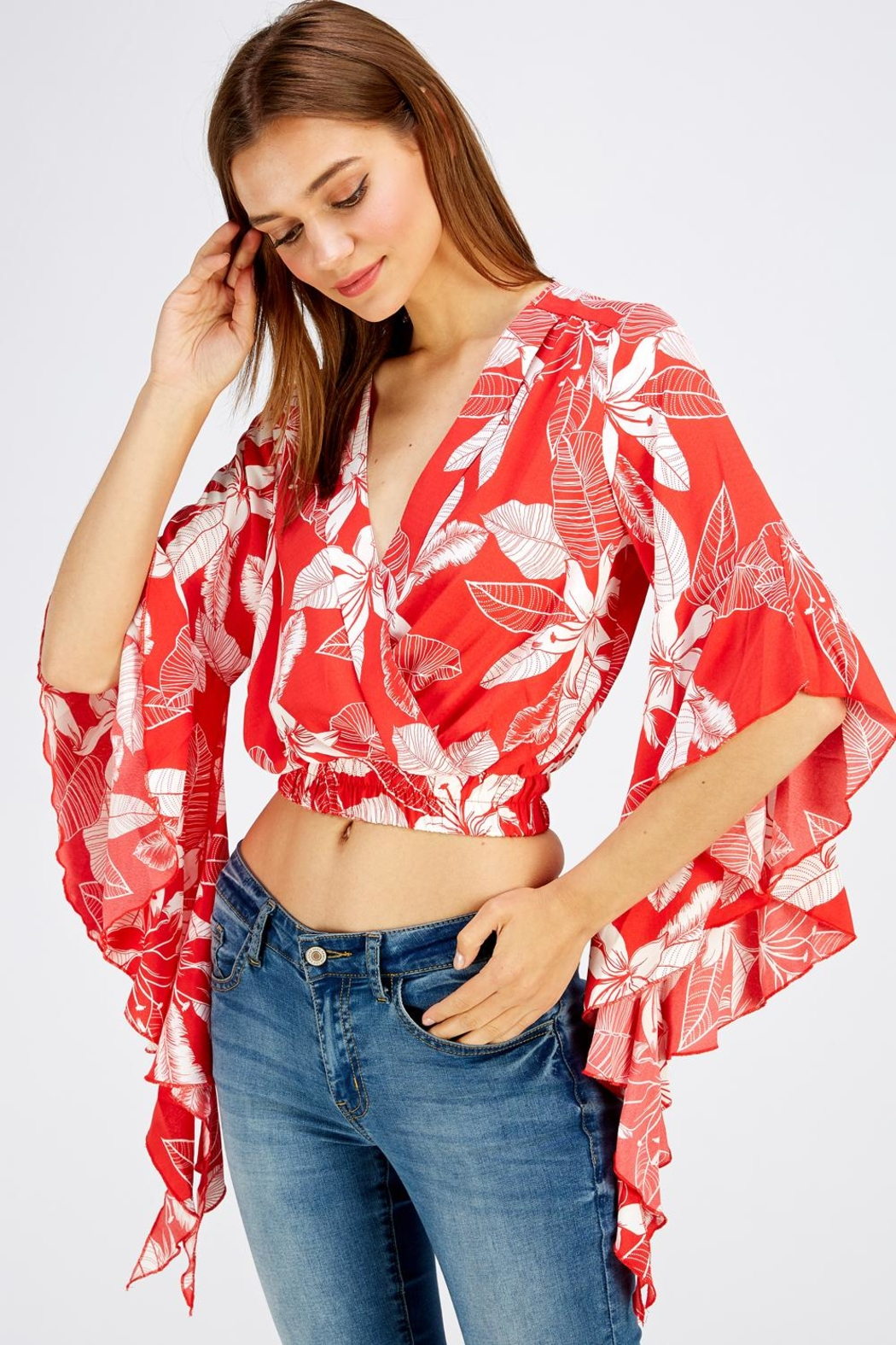 Love Encounter Red Floral Top - Back Cropped Image