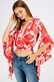 Love Encounter Red Floral Top - Back cropped