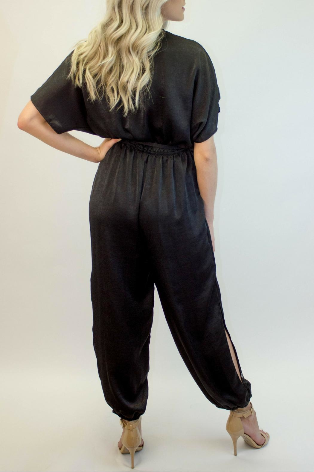 Love in  Black Wrap Jumpsuit - Side Cropped Image
