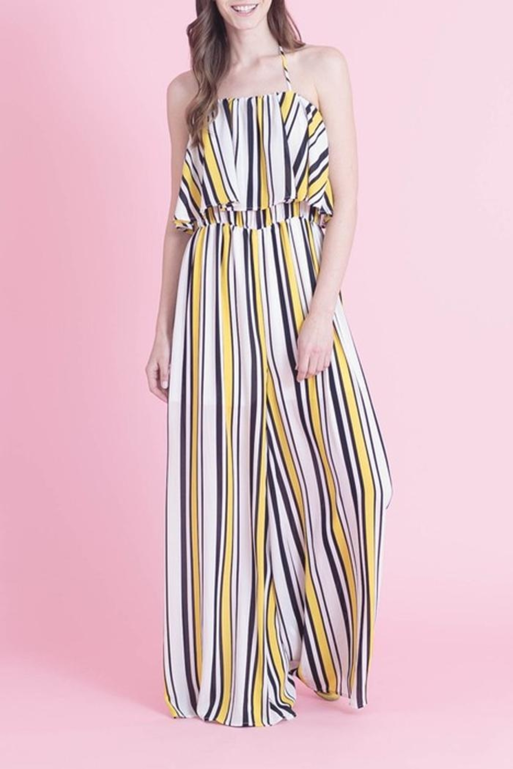 Love in  Classic Stripe Jumpsuit - Side Cropped Image