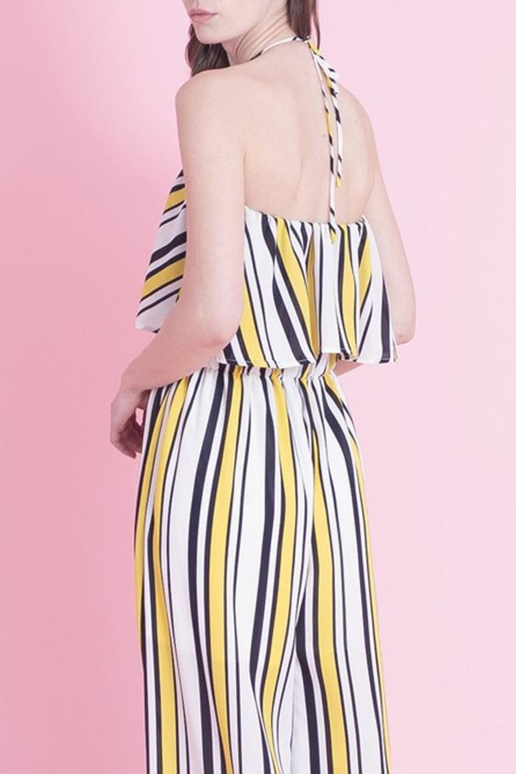 Love in  Classic Stripe Jumpsuit - Back Cropped Image