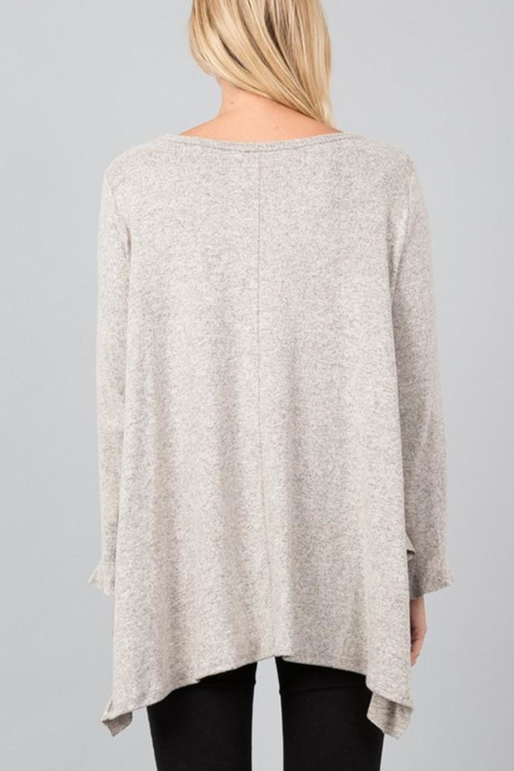 Love in  Handkerchief Ruffle Sweater - Back Cropped Image