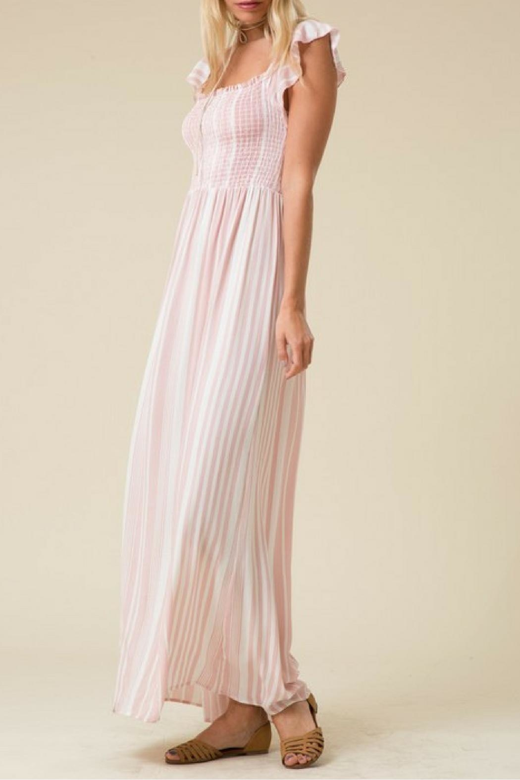 Love in  Pink Striped Maxi Dress - Front Full Image