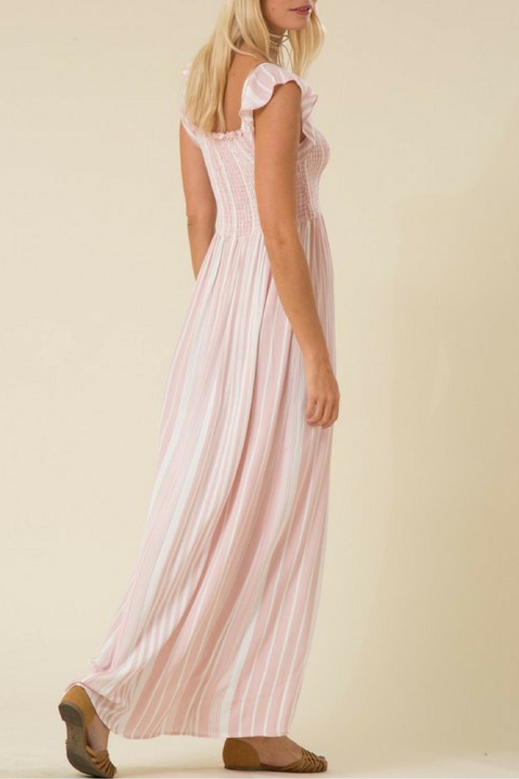 Love in  Pink Striped Maxi Dress - Side Cropped Image