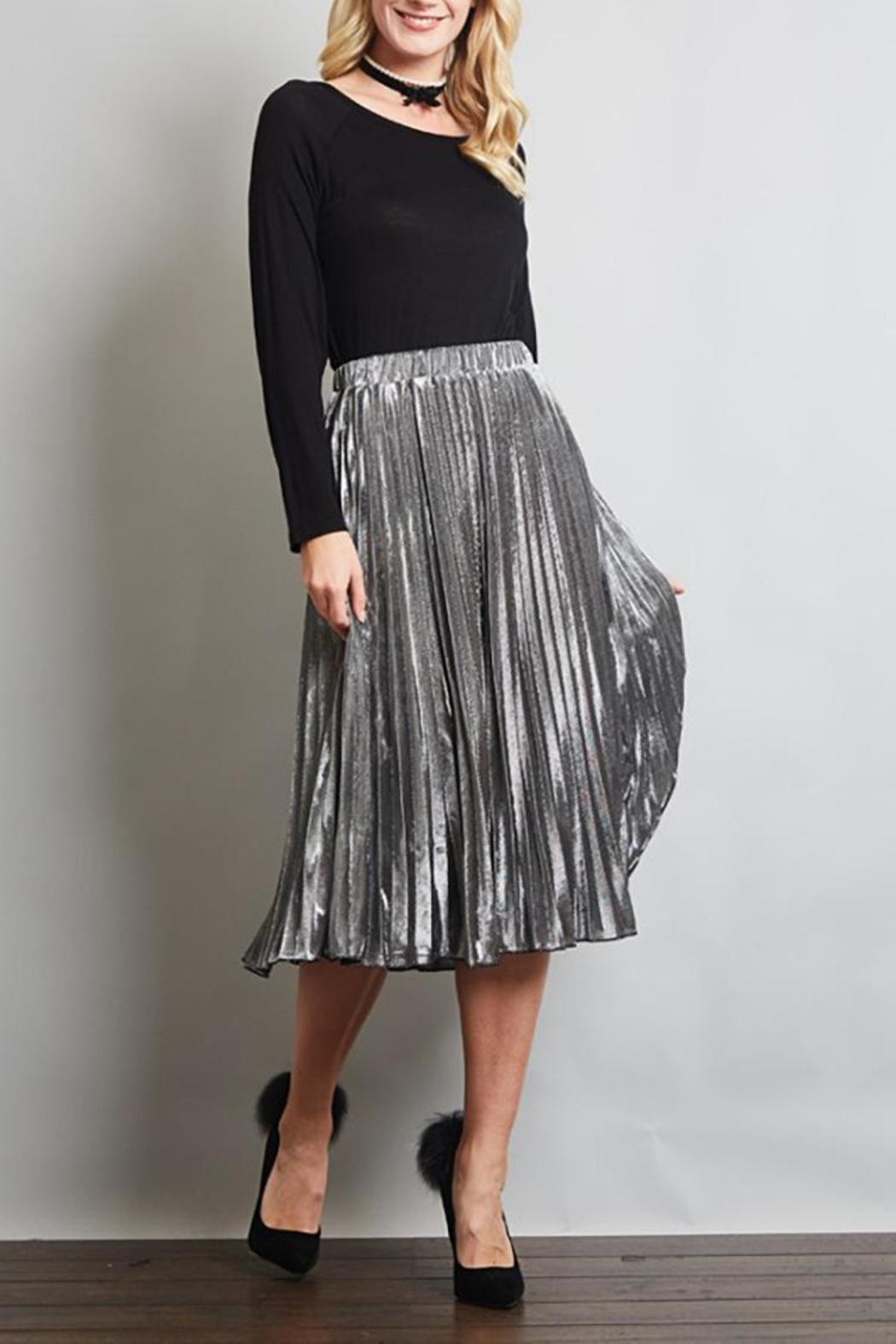 Love in  Pleated Midi Skirt - Front Cropped Image
