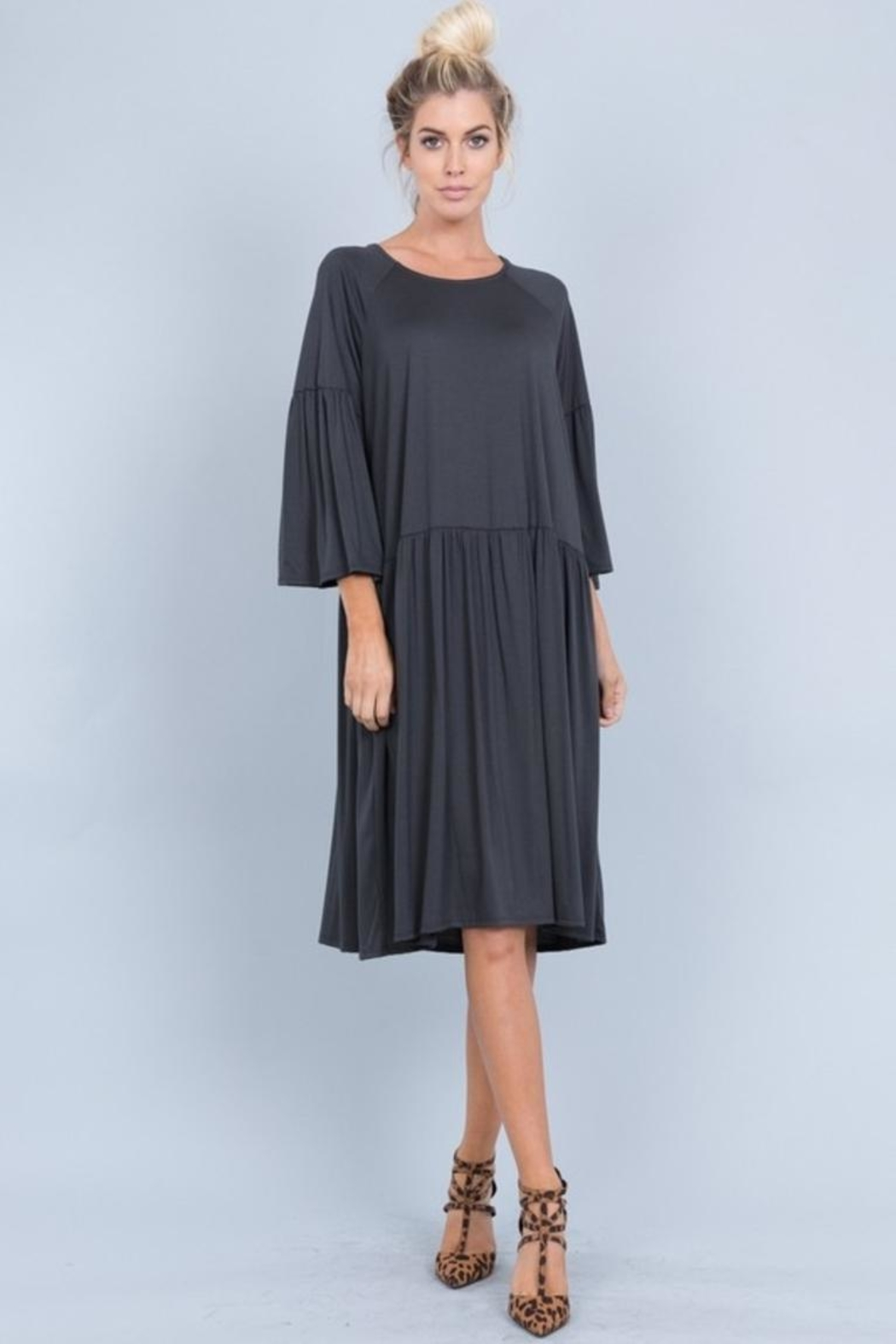 Love in  Ruffled Sleeve Dress - Front Cropped Image