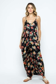 Love in  Satin Floral Print Open Shoulder Harem Maxi Dress - Product Mini Image