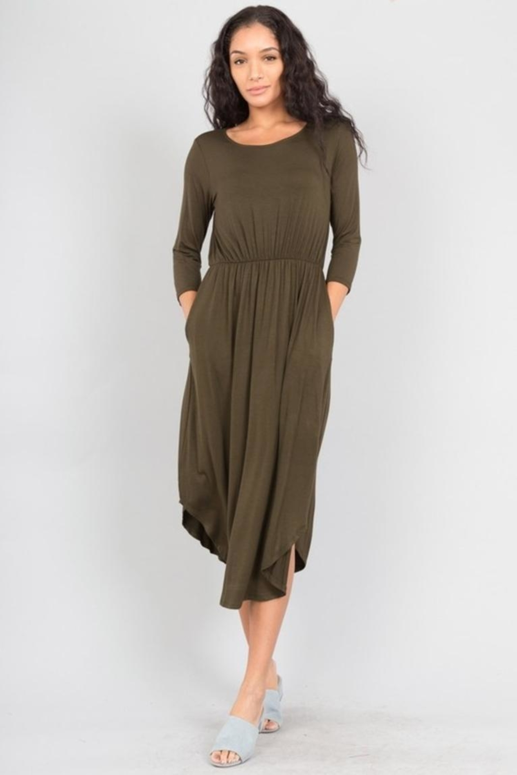 Love in  Shirttail Midi Dress - Front Cropped Image