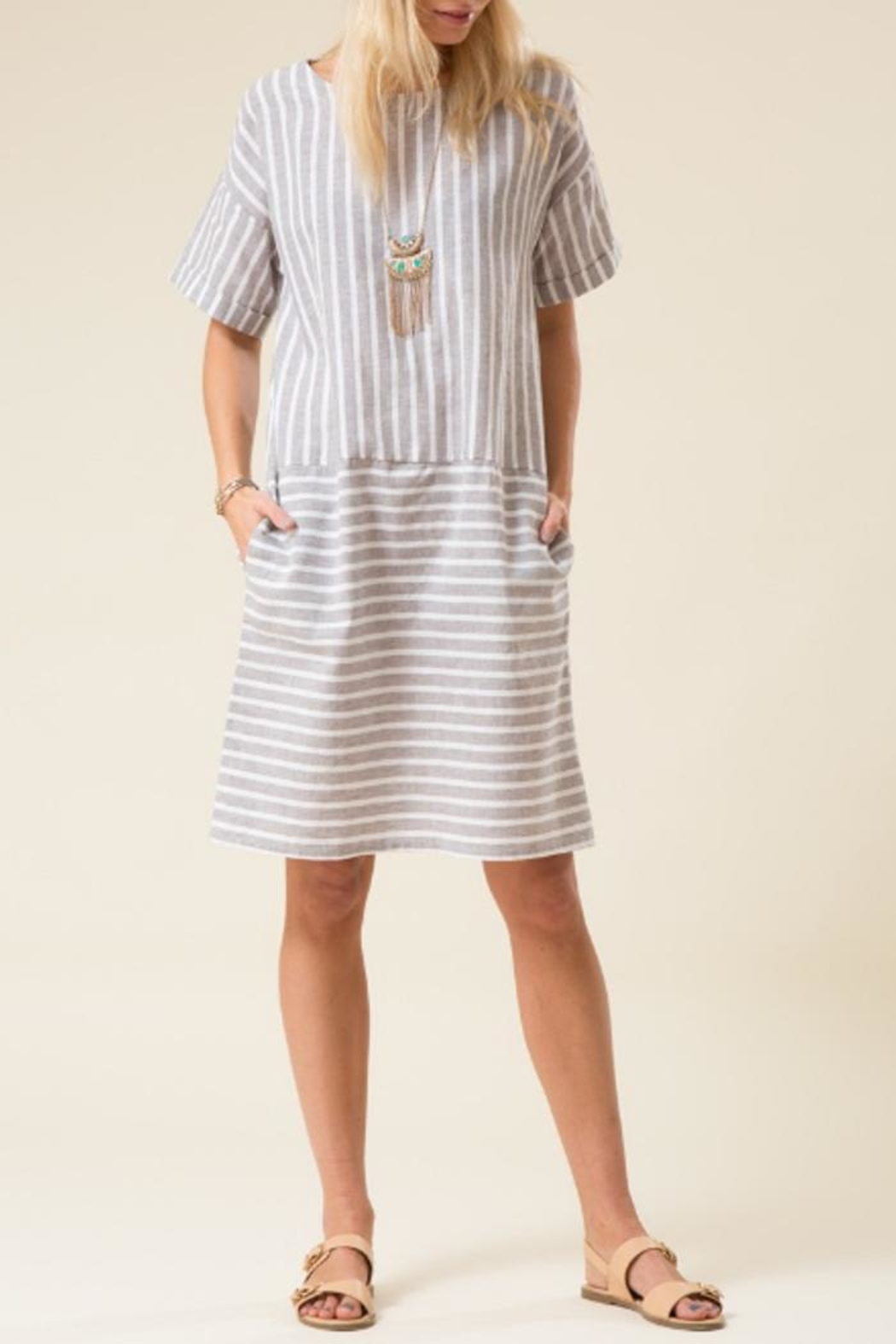 Love in  Stripe Dress - Front Cropped Image