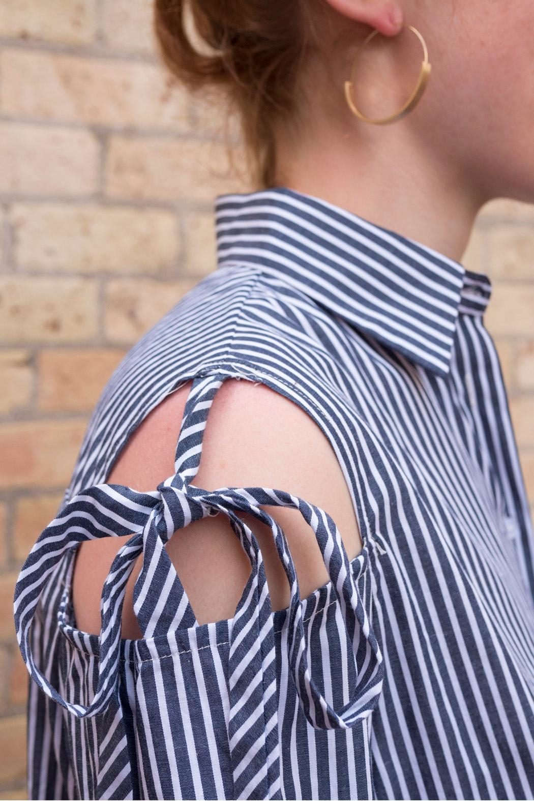 Love in  Striped Tie Top - Side Cropped Image