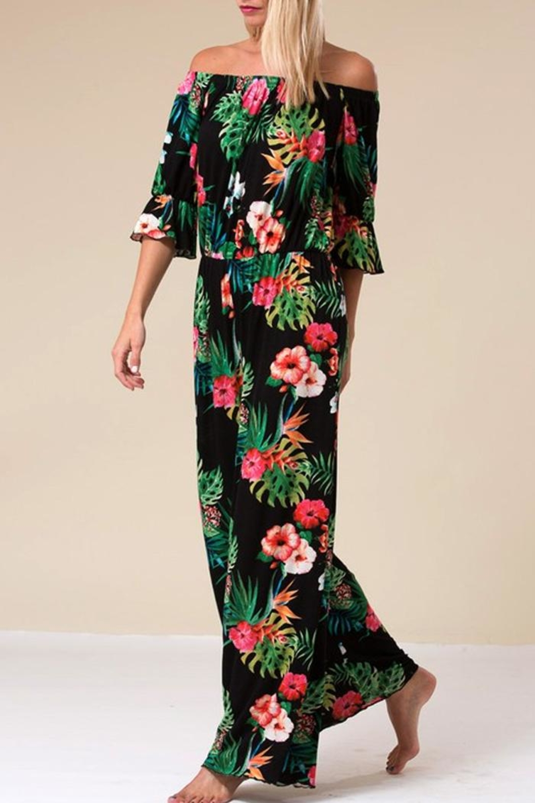 Love in  Tropical Palm Jumpsuit - Front Full Image