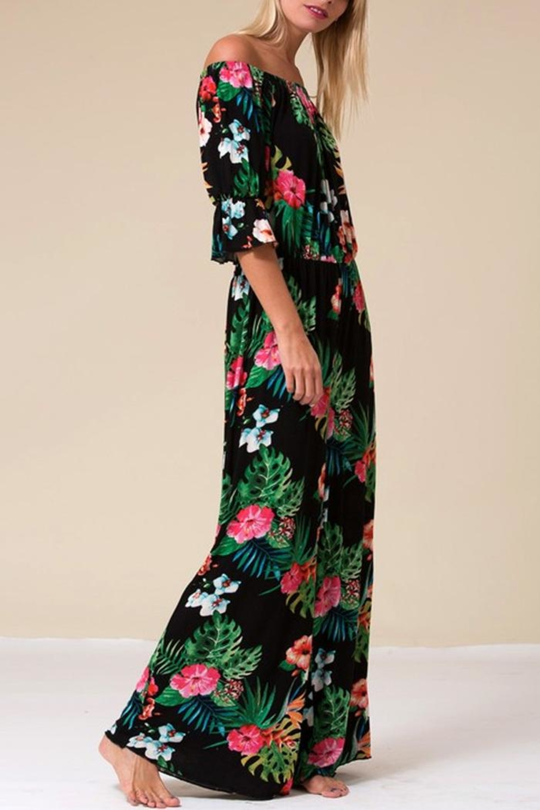 Love in  Tropical Palm Jumpsuit - Side Cropped Image
