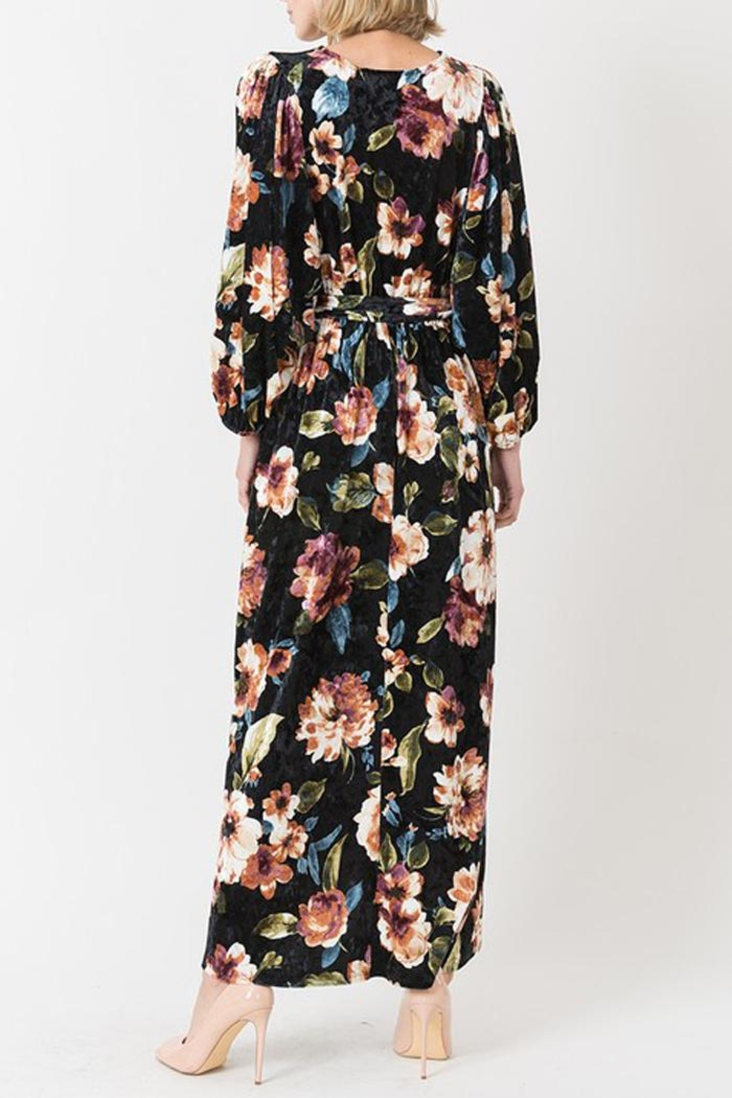 Love in  Velvet Floral Maxi Dress - Side Cropped Image