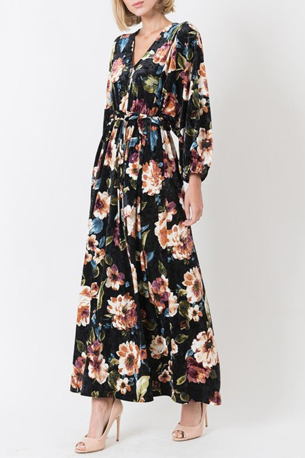 Love in  Velvet Floral Maxi Dress - Front Full Image