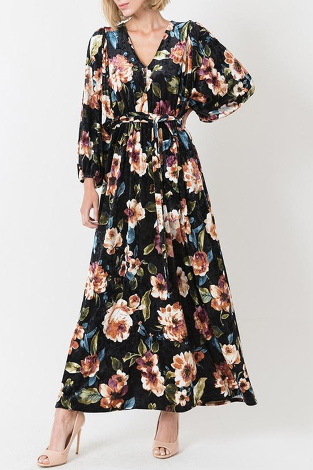 Love in  Velvet Floral Maxi Dress - Front Cropped Image
