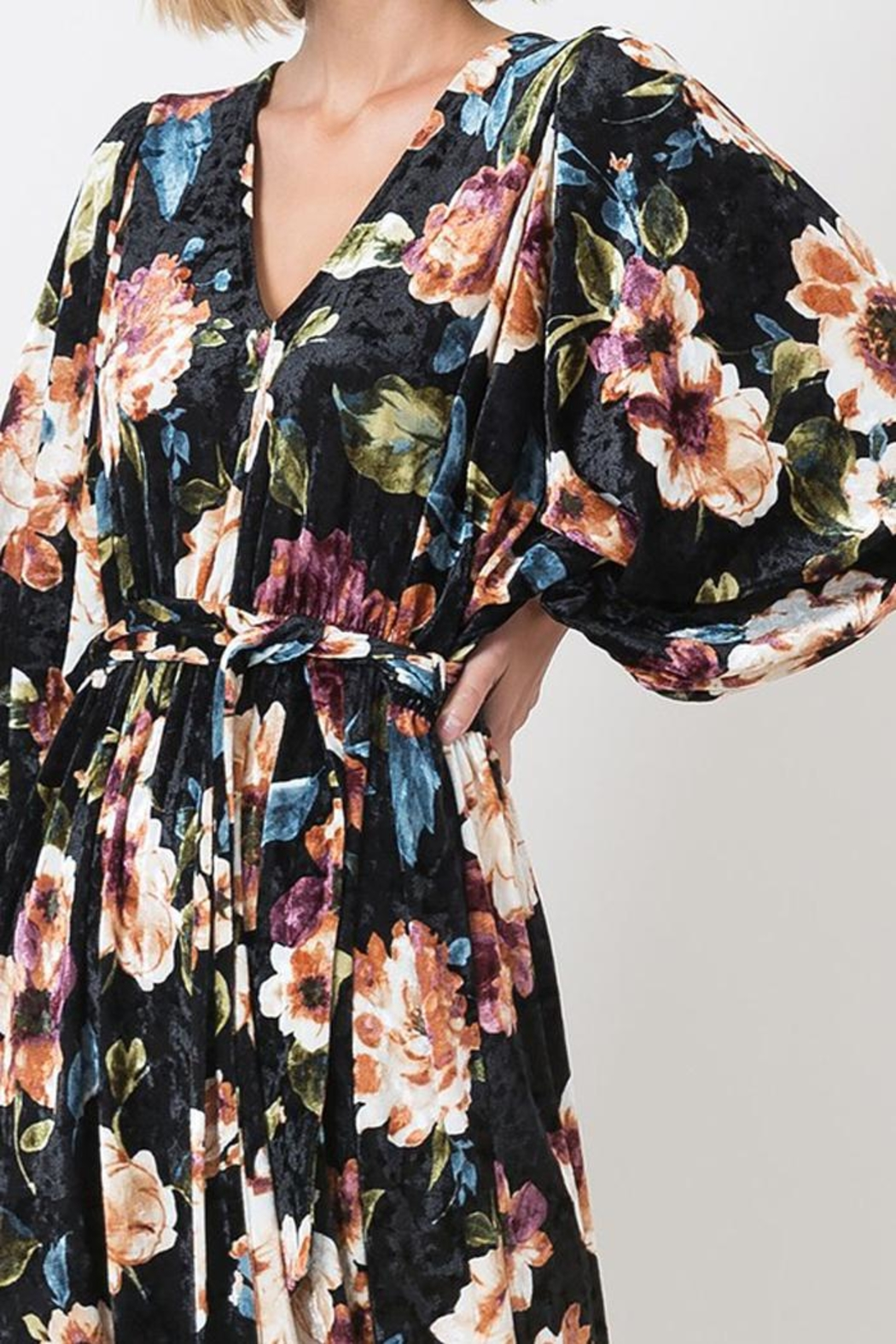 Love in  Velvet Floral Maxi Dress - Back Cropped Image