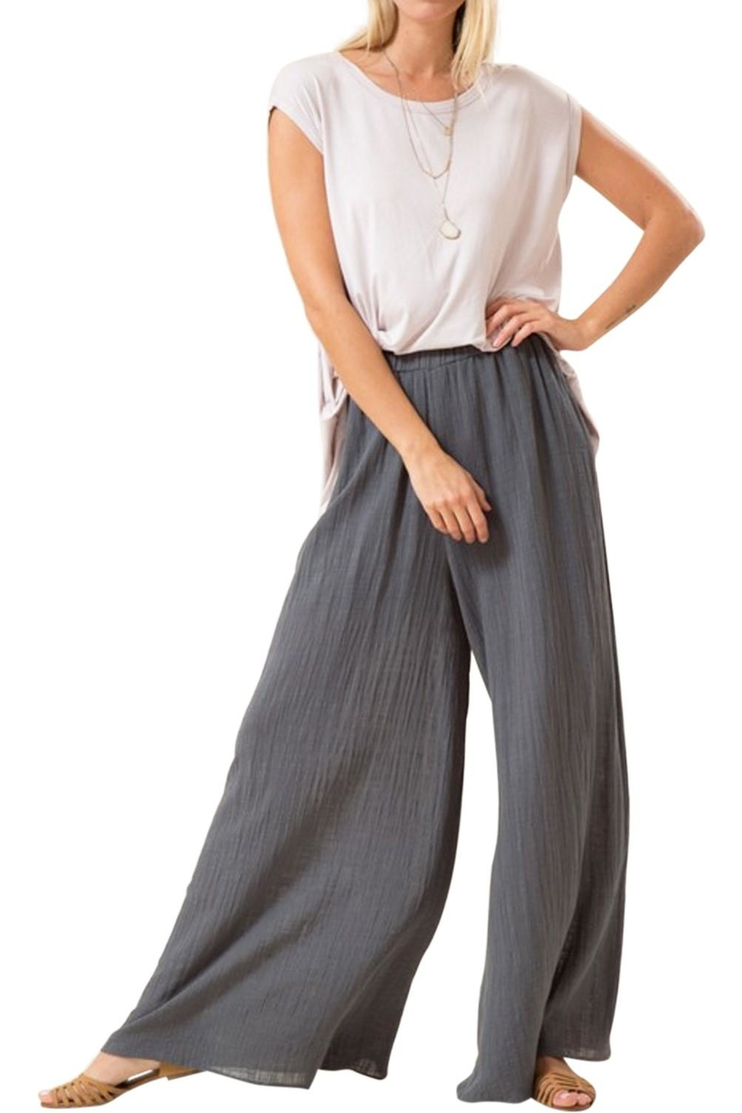 Love in  Wide Leg Cotton Pants - Main Image