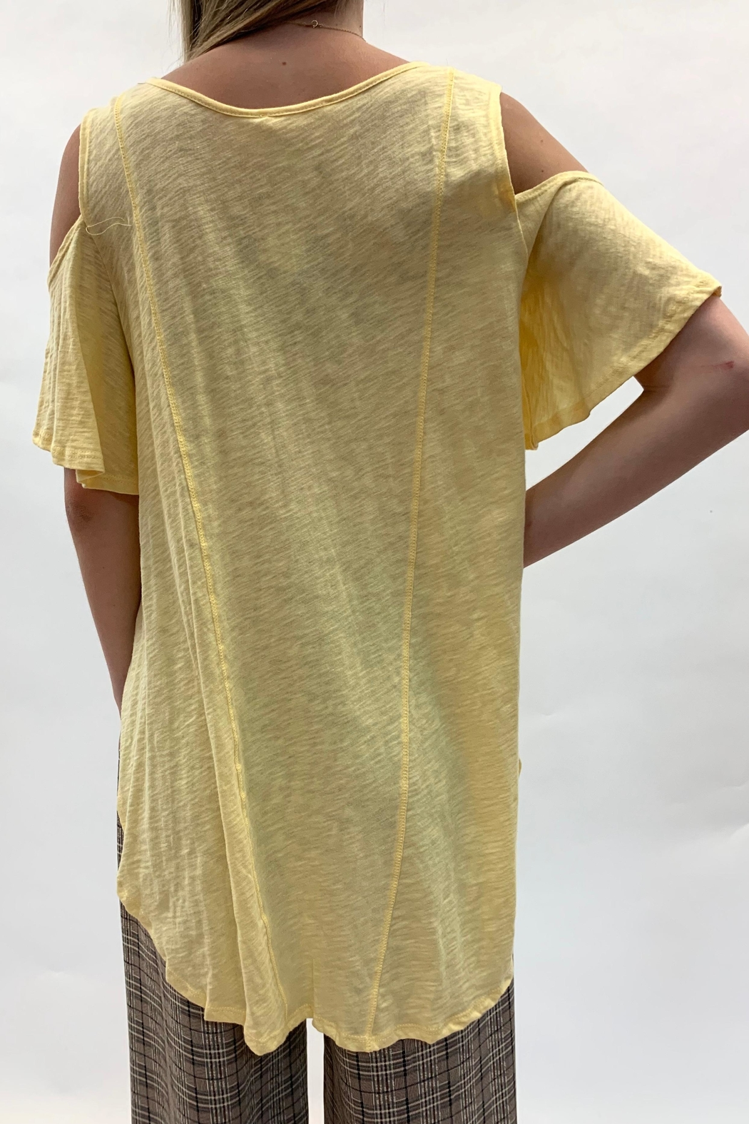 Love in  Yellow Cold-Shoulder Top - Side Cropped Image
