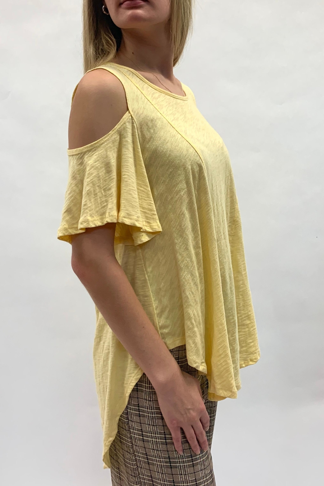 Love in  Yellow Cold-Shoulder Top - Main Image