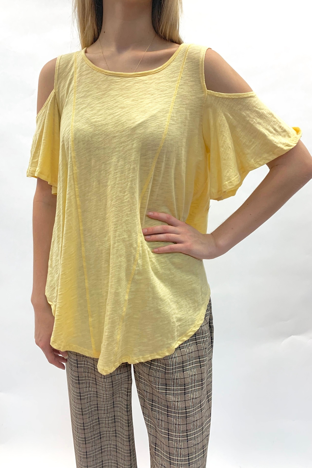 Love in  Yellow Cold-Shoulder Top - Front Full Image