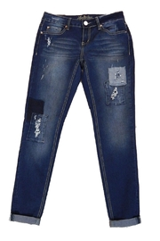 Love Indigo Patch Skinny Jeans - Product Mini Image