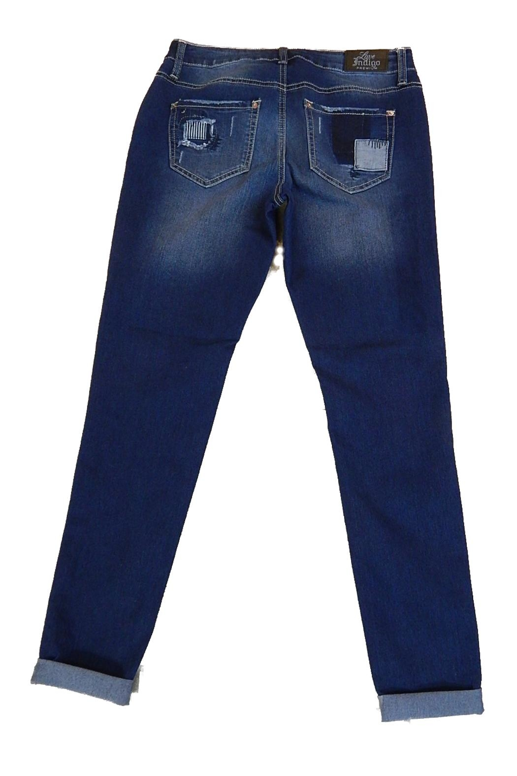 Love Indigo Patch Skinny Jeans - Front Full Image