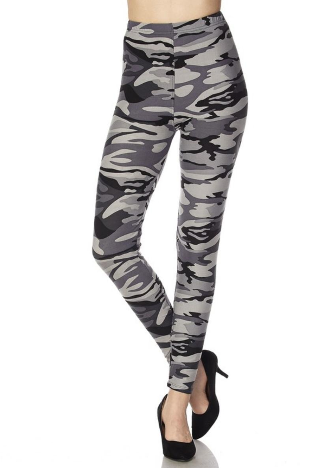 Love It Grey Camouflage Leggings - Front Cropped Image