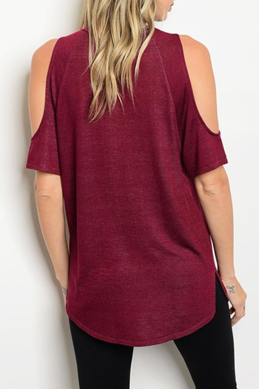 Love J  Peek-Shoulder Red Tunic - Front Full Image