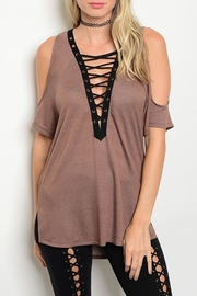 Love J  Tan Peek-Shoulder Tunic - Front cropped