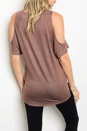 Love J  Tan Peek-Shoulder Tunic - Front full body
