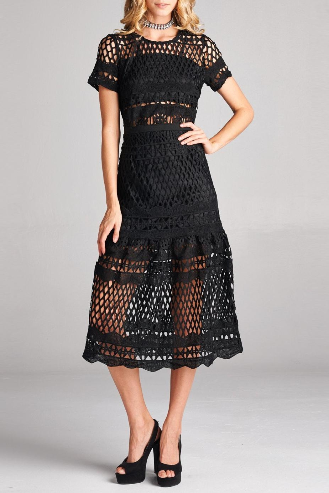 Love Kuza Cotton Lace Midi Dress - Front Cropped Image