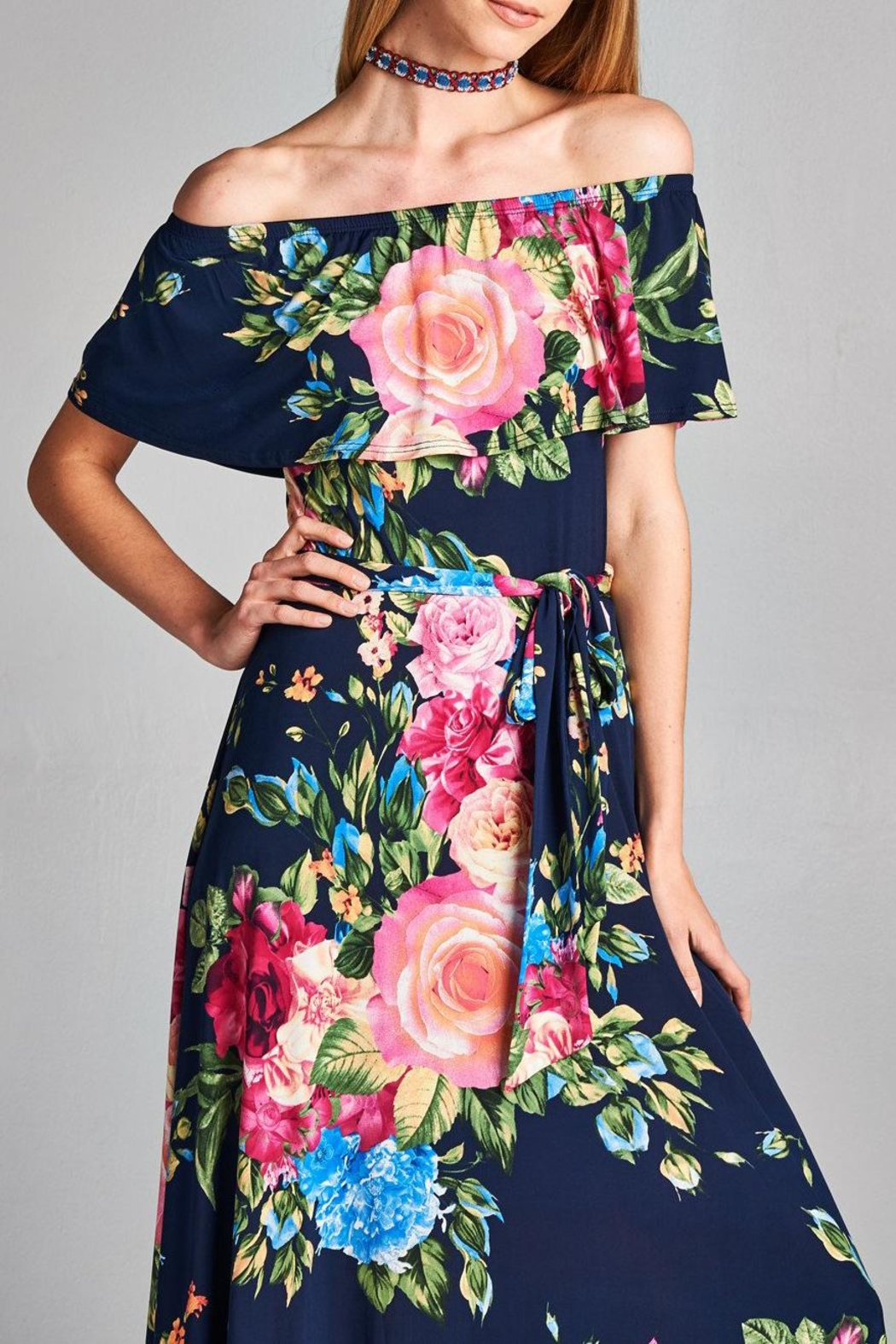 Love Kuza Floral Color Roses Dress - Front Cropped Image