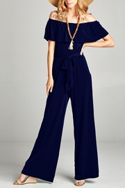 Love Kuza Ruffle Off the Shoulder Jumpsuit - Product Mini Image