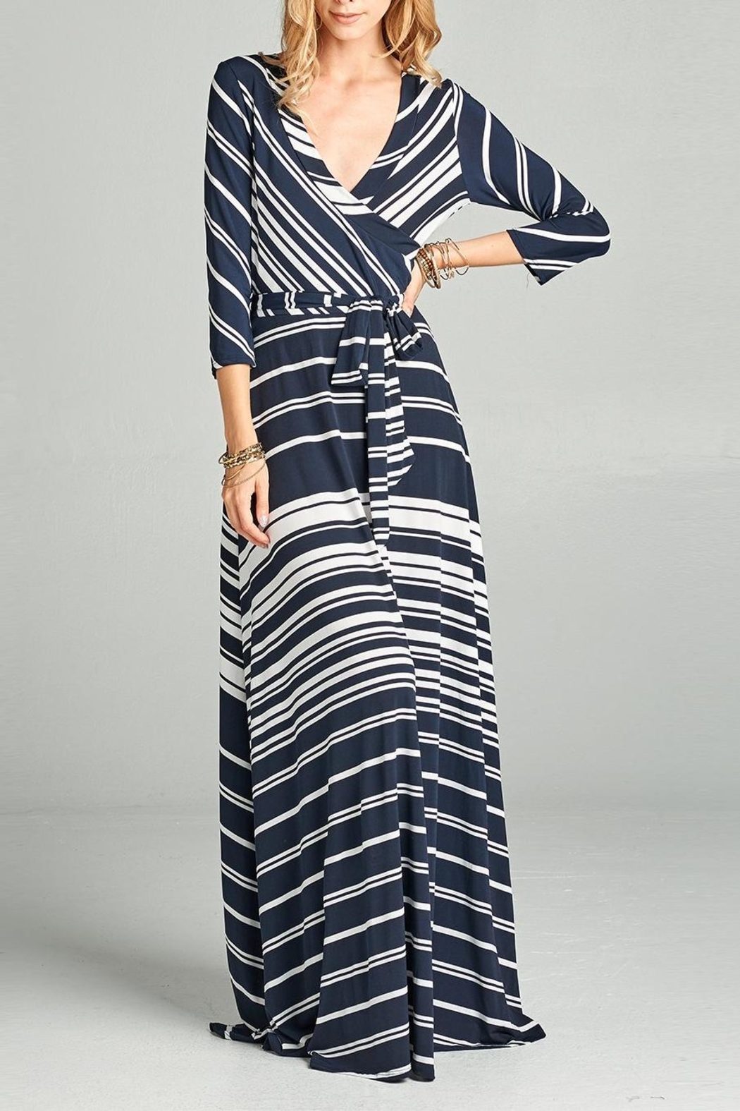 Love Kuza Striped Venechia Wrap Dress - Front Cropped Image