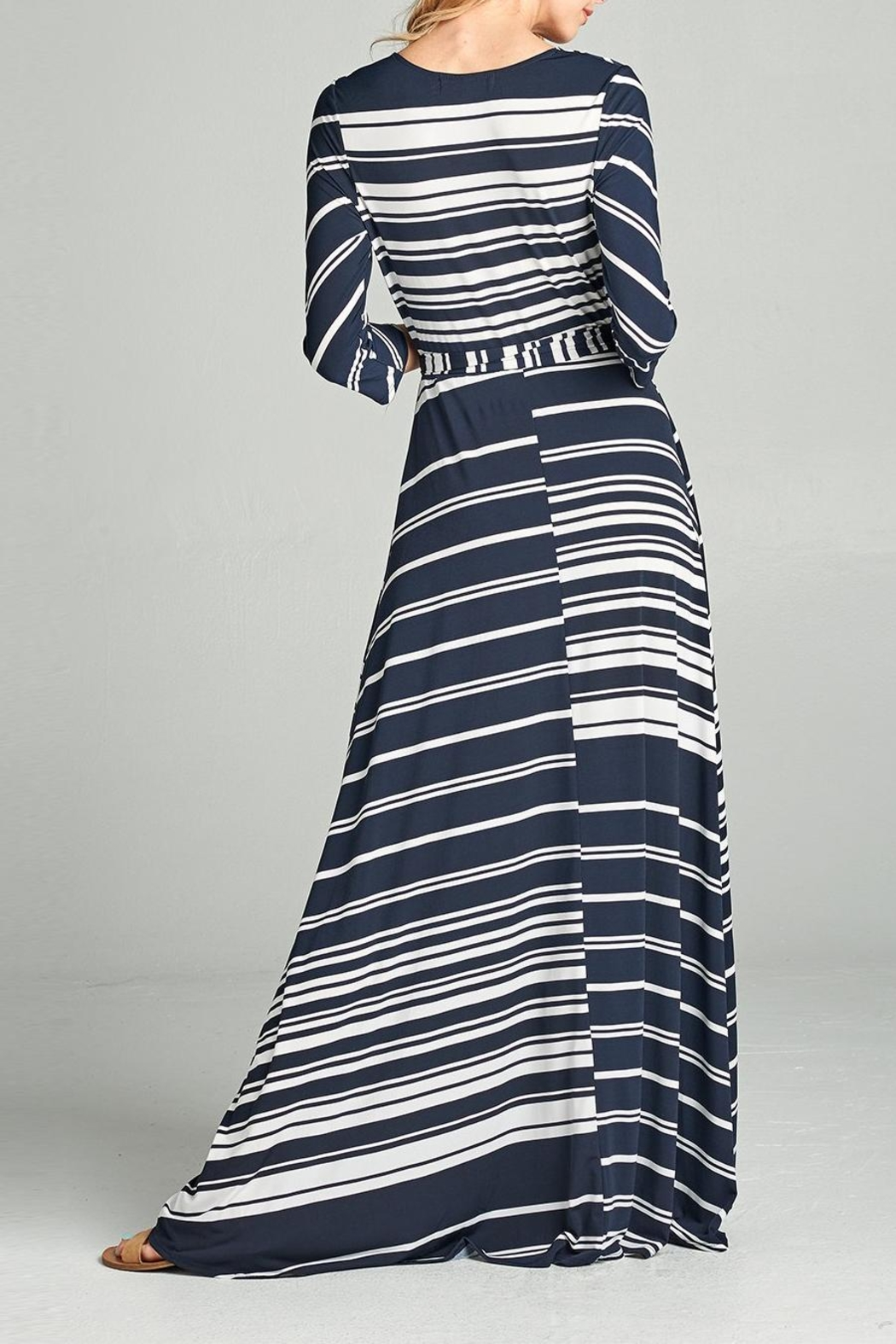 Love Kuza Striped Venechia Wrap Dress - Side Cropped Image