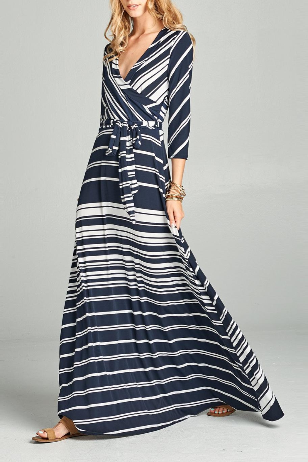 Love Kuza Striped Venechia Wrap Dress - Front Full Image