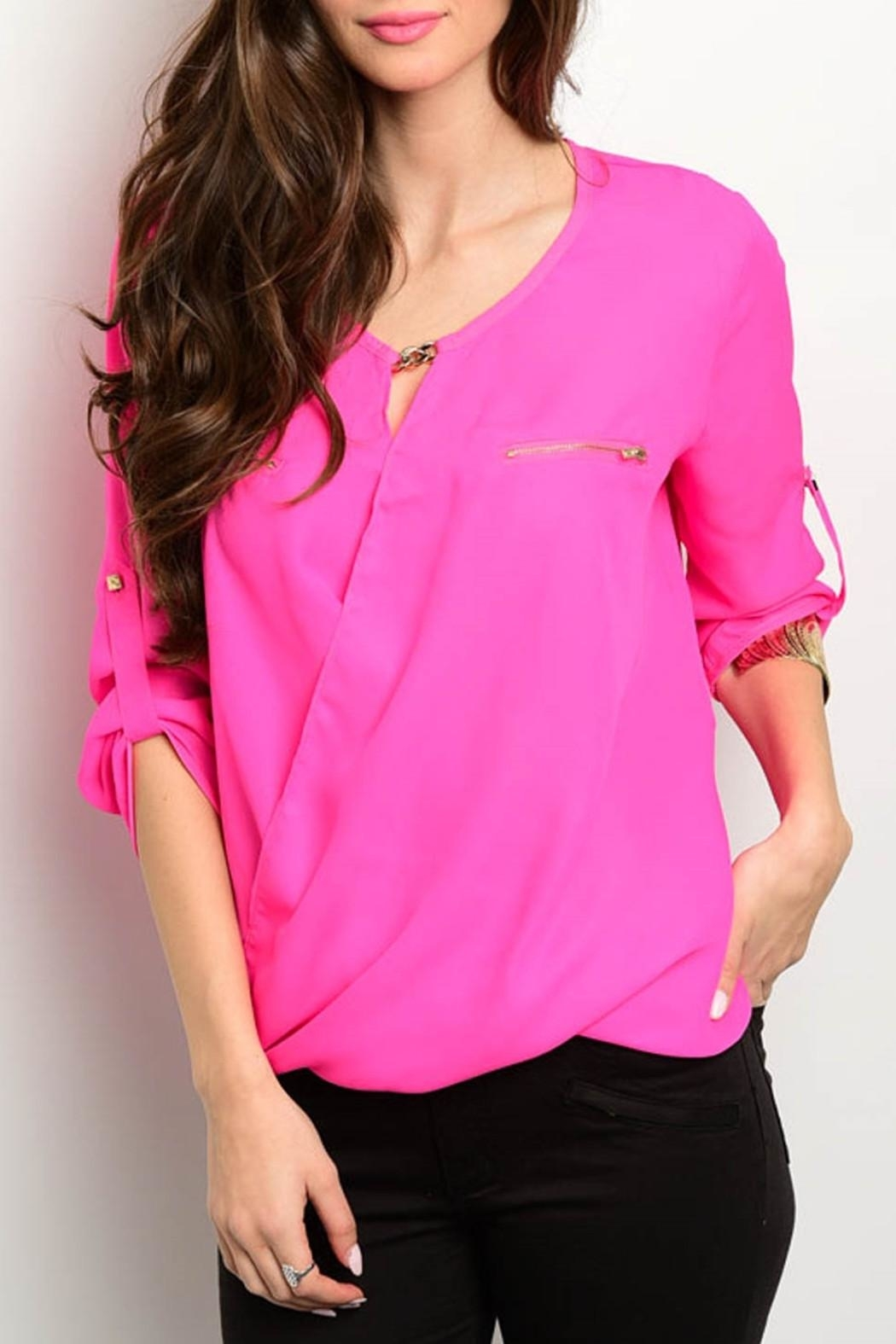 Love Letter Fuchsia Neon Blouse - Front Cropped Image