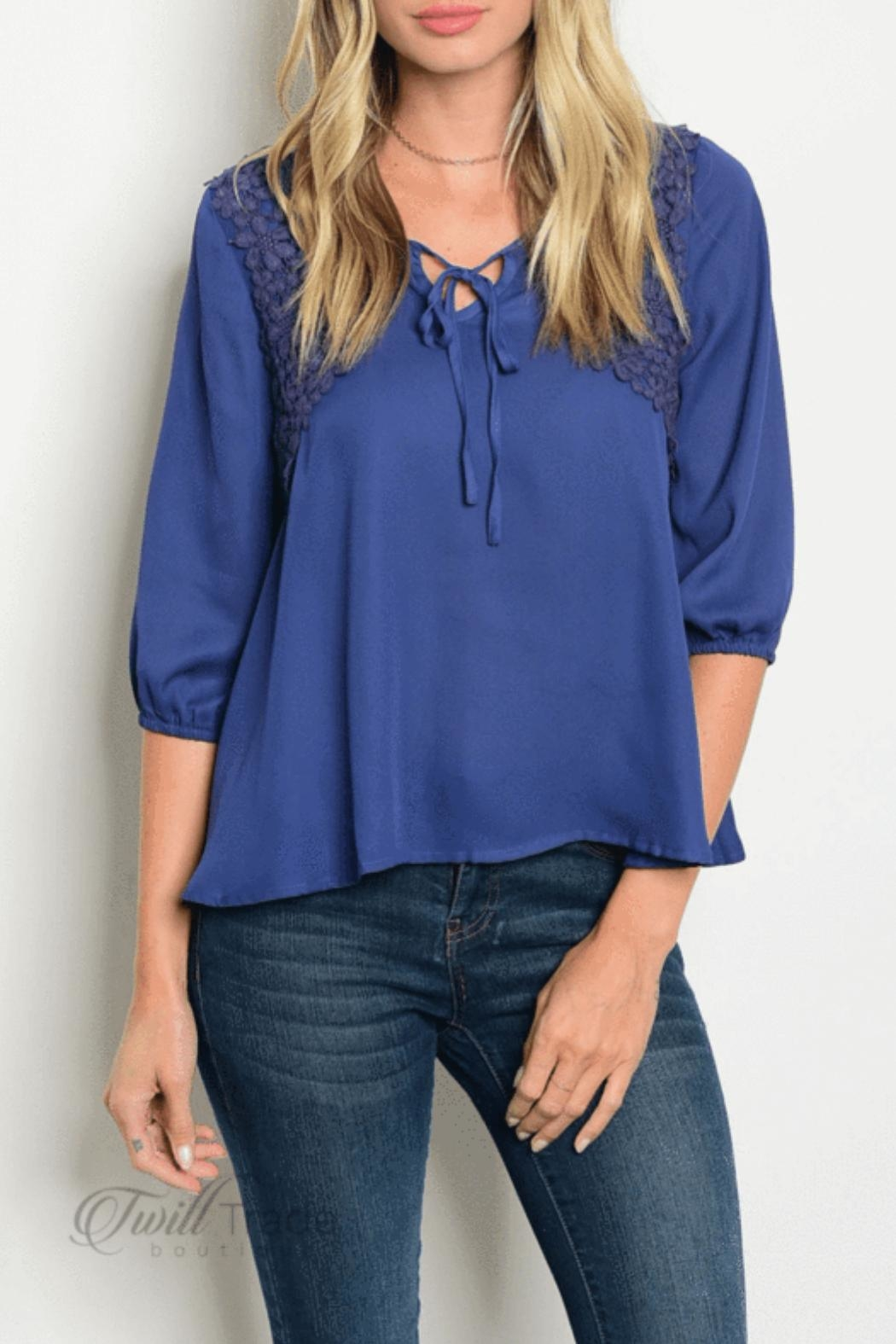 Love Letter Navy Peasant Top - Main Image