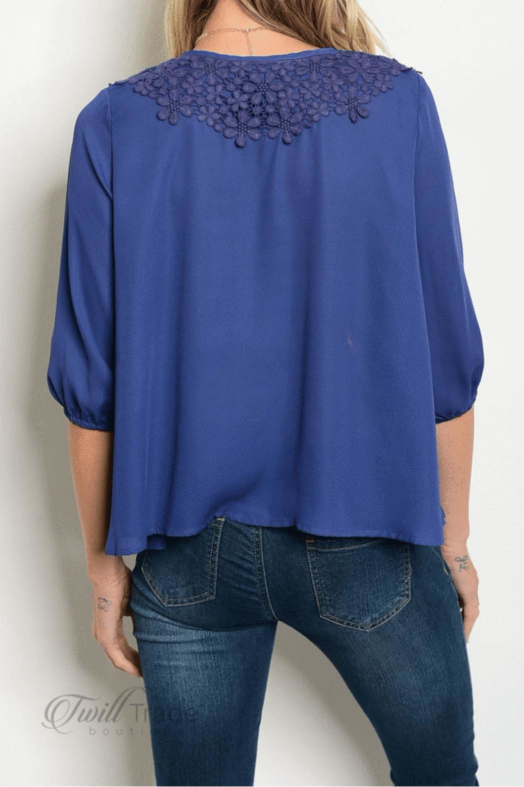 Love Letter Navy Peasant Top - Front Full Image