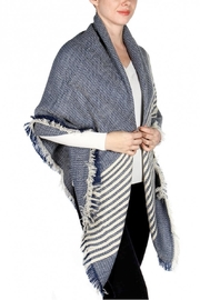 Love of Fashion Blue Striped Blanket Scarf - Product Mini Image